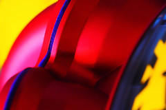 Dyson V10 Cyclone Abstract (fstop186) Tags: abstract red blue yellow primary colours plastic bold retro surreal art macro contrast bokeh moulding gasket dyson olympusm60mmf28macro olympusem1 lines curves shadows dysonv10 cyclone