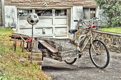 In my neighborhood yesterday ... (stephaneblaisphoto) Tags: abandoned architecture bicycle building exterior built structure day field grass land vehicle mode transportation nature no people old outdoors parking plant stationary tree wheel