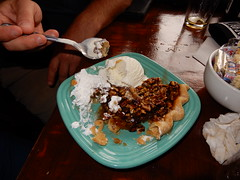 dessert: pecan pie and ice cream (Just Back) Tags: food eat dinner splurge occasional delicious table mesa postre seafood columbia sc vista sugar gooey spoon fork crust baked sweet yum