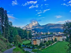 Morning view over Kufstein with fortress and Pendling mountain, Tyrol, Austria (UweBKK (α 77 on )) Tags: österreich austria tyrol tirol europe europa iphone kufstein fortress pendling mountain view city urban trees grass field green sky blue morning