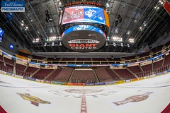 Giant Center (Scott Thomas Photography) Tags: unitedstatesofamerica 840 ahl americanhockeyleague bears giantcenter hershey icehockey pennsylvania pro professional sports nikond750 sigma15mmfisheye photobox fisheye syracuse crunch arena stadium empty ice ads boards dasher seats video scoreboard ribbon lights