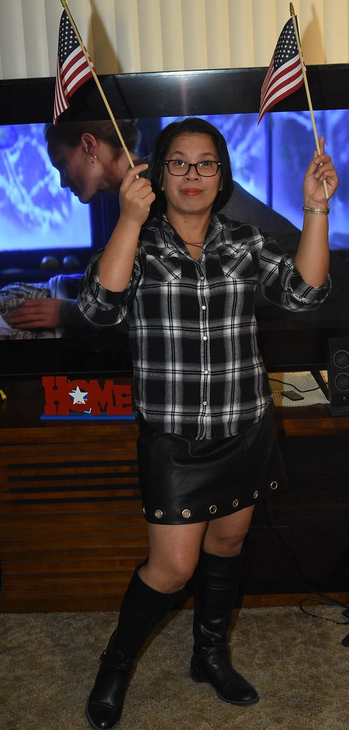 DSC_6305 (Ez2plee4u) Tags: sexy filipina wife husband skirt dress american  flag booth high
