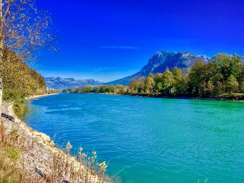 River Inn and Kaiser mountains near Kufstein, Tyrol, Austria