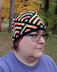 Dayglo Stripes (tephralynn) Tags: hat knitting mitered domino modular