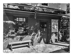 Round Again Records (Timothy Valentine) Tags: 2018 blackandwhite large bench 1018 silverefex sign datesyearss store monday providence rhodeisland unitedstates us