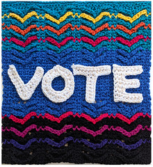 VOTE crochet (vashtirama) Tags: vote crochetpattern decor wallhanging crochetposter rainbow designingvashtilotus designingvashtiyarn alphabet tunisiancrochet colors aran