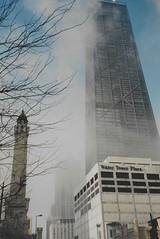 Fog Rolling into Chicago (Joseph Hollick) Tags: chicago illinois 35mmfilm 35mm mamiya mamiya35mmcamera mist fog skyscraper