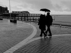 a rainy day (watcher330) Tags: man woman promenade sea umbrella pier aberystwyth