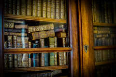 Old Books (judy dean) Tags: 2018 france summer judydean holiday lensbaby library books cupboard old