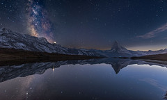Stellisee bei Nacht (19MilkyWay89) Tags: landscape night sky lake switzerland mountains milky way milchstrase sterne