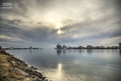Easy To Love (DetroitDerek Photography ( ALL RIGHTS RESERVED )) Tags: allrightsreserved 313 detroit motown hdr 3exp city cityscape urban paulchambers october 2018 detroitderek michigan shore river water reflection sun clouds canon 5d mkii digital eos midwest usa america stone light motorcity