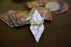 Paper Crane and Menko (Eridanus 21) Tags: paper crane menkoツルとめんこ cran origami menko おりがみ 折り鶴 ツル 折り紙 面子 めんこ origamiphoto 玩具めんこ papercrane 玩