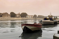 Foggy morning on the Rhone (le cabri) Tags: arles provence sunrise docks boat old rhone water river mood fog quiet peaceful viewpoint outdoors architecture morning tourism travel iphone ancient history cloud soft morningrun peer stone cityscape
