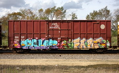 Palm/Fart (quiet-silence) Tags: graffiti graff freight fr8 train railroad railcar art palm fart lsd boxcar bnsf bnsf728841