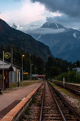Servoz (©Andrey) Tags: fernch alps servoz france evening autumn warm nice weather vacation landscape street railway station a7rii sel55f18z sonnartfe1855 way away direction mountain clouds