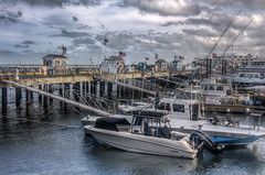 Boats in Provincetown Harbor (donnieking1811) Tags: massachusetts provincetown harbor boats pier buildings signs flags americanflags ramp dock water outdoors sky clouds hdr canon 60d lightroom photomatixpro