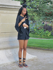 Black model in a miniskirt (pivapao's citylife flavors) Tags: paris france people louvre girl beauties fashion