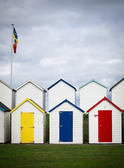 Beach huts 9 (S's images) Tags: south devon beach huts beachhuts sky white painted red blue yellow prime colours