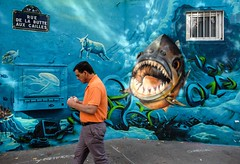 Paris Butte aux Cailles (www.benedicteladjevardi.com) Tags: paris france streetart streetphotography photoderue colorful couleur funny drole shark requin mouton sheep wall mur artiste caligr djalouz onepesca xt10 fujifilm