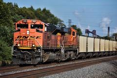 Ace (ryanstuart1) Tags: bnsf burlington northern santa fe railway railroad railroads freight train trains coal hoppers emd ge sd70ace es44ac portage in indiana norfolk southern ns mainline steel mill industry