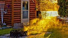 The Busy corner of the garden in Autumn's Golden Sunlight. (Bob's Digital Eye) Tags: ashes autumn autumncolour bobsdigitaleye burning burningleaves canon efs1855mmf3556isii firepit flicker flickr garden october2018 smoke sunlight t3i