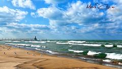 Michigan City Lighthouse (Mark-Cooper-Photography) Tags: 5d 5d3 1635mm f4 michigan city lighthouse indiana beach sand sun surf seagulls washington park clouds waves blue sky