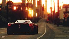 LaFerrari (at1503) Tags: car road sunset goldenlight red yellow orange ferrari hypercar laferrari redferrari california america italiancar usa buildings urban city glow backgroundblur evening gtsport granturismo granturismosport motorsport racing game gaming ps4
