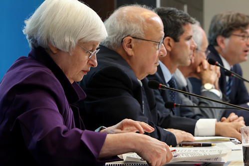 Moderator Janet L. Yellen with Ted Truman, Brian Sack and presenters Donald Kohn and Jason Furman discussing monetary and fiscal policies in the US and abroad