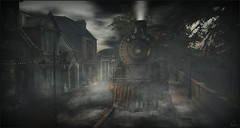 *Sometimes the wrong train, takes you to the right train station* ❤️ (Ⓐⓝⓖⓔⓛ (Angeleyes Roxley)) Tags: train halloween creepy sim cool sl secondlife dark outdoors nature