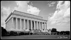 Lincoln Memorial (Bob Shrader) Tags: lincolnmemorial memorial architecture structure building sky clouds grass lawn steps people shrub blackandwhite monochrome photoborder photoedge photoframe preset postprocessing raw microfourthirds mft mirrorless on1photoraw filmlook 32kodakpanatomic olympuspenf olympusm12100mmf40 unitedstates