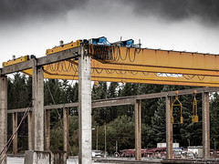 """""""The old Crane"""" (Terje Helberg Photography) Tags: abandoned cabels columns concrete crane decay neglected sky trees unattended wires industry fence pole building transportation road empty perspective steel"""