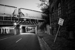 viaductCSG (sgilpat1) Tags: columbusga columbus monochroome night sign viaduct trainbridge train blackandwhite