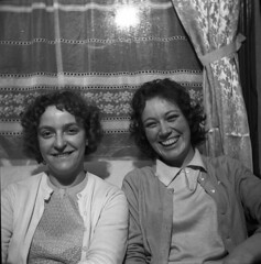 Laughing ladies (vintage ladies) Tags: blackandwhite vintage people photograph 60s female woman lady 60slady 60swoman 60sstyle ladies women 60sladies 60swomen smile smiling sitting cardigan laugh laughing portrait eoshe