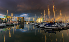 Sgt Pepper (snowyturner) Tags: boats harbour evening light clouds plymouth marina yachts reflections drama buildings