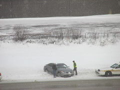 This lady spun out on westbound I-88 & the Illinois State Police came to her aid (debstromquist) Tags: spinouts winter snowcoveredroads i88 westbound snow damselindistress ilstatepolice helpfulguys slipperyroads atwork