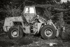 Earth Mover (frntprchprss) Tags: tractor rusted earthmover wheels abandoned woods jamesgehrt blackandwhite