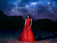 Thunder of destruction (Glamzka) Tags: thunder fineart photomanipulation digitalart creativity surreal reddress girl beauty