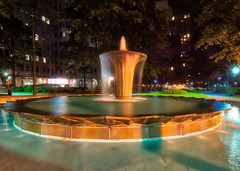 I Found a Fountain (tquist24) Tags: gatewayplazafountain hdr nikon nikond5300 outdoor pennsylvania pittsburgh buildings city downtown fountain geotagged light lights longexposure reflection reflections tree trees water plaza