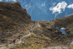 Descent from Keche La pass - Gasa District - Snowman Trek - Bhutan (PascalBo) Tags: nikon d500 asie asia southasia asiedusud drukyul drukgyalkhap bhutan bhoutan འབྲུག་ཡུལ། འབྲུག་རྒྱལ་ཁབ་ snowman trek trekking hike hiking lunana gasa himalaya himalayas jigmedorjinationalpark mountain montagne trekker people trail footpath outdoor outdoors pascalboegli