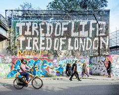 The Wrong Pepys (DobingDesign) Tags: streetphotography tiredoflifetiredoflondon graffiti street text message word samuelpepys people walking london streetart bike road irony quote misquote ironic
