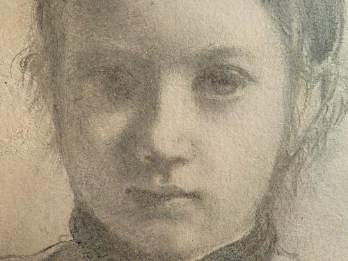 DEGAS Edgar,1858-67 - La Famille Bellelli, Giovanna, Etude (Louvre RF16585) - Detail 14