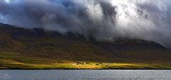 Lighting the way. (lawrencecornell25) Tags: landscape iceland faskrudsfjordur easterniceland cloudy hillside light stormy outdoors scenery nikond850