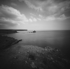 Over to church rock (Christopher M Hight) Tags: zero 2000 pinhole ilford panf50 120 film 6x6