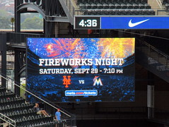 Citi Field, 08/26/18 (NYM v. WAS): video board promo for Fireworks Night (9/29 v. MIA) - it wasn't known at the time that Fireworks Night would also be David Wright's final game (IMG_3133a) (Gary Dunaier) Tags: baseball stadiums stadia ballparks mets newyorkmets flushing queens newyorkcity queenscounty queensboro queensborough citifield