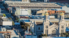 st. joseph's on 10th street (pbo31) Tags: bayarea california nikon d810 color october 2018 fall boury pbo31 sanfrancisco civiccenter over view city urban soma rooftops church restoration 10th religion stjosephs architecture mission costco warehouse roadway siemer
