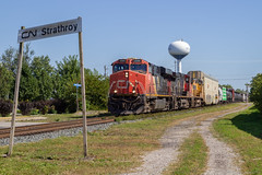 Cn 2268 (Cp1245) Tags: es44dc gevo ge milemarker gecx strathroyontario strathroysubdivision watertower sky canadiannational