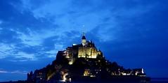 Blue Hour at the Mont-Saint-Michel (fxdx) Tags: blue hour montsaintmichel rx100m3 monument chatedral sky clouds abbey normandie