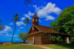 Keawala'i Congregational Church (1) (Kirt Edblom) Tags: maui mauihawaii makena hawaii makenahawaii church old gaylene wife blue bluesky green grass tree trees milf clouds palmtree palmtrees stone building 2018 architecture tower sky landscape kirt kirtedblom edblom easyhdr luminar hdr nikon nikond7100 nikkor18140mmf3556 soft