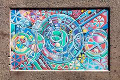 Concentric (A Different Perspective) Tags: australia fremantle perth westernaustralia circle colour concrete detail flower mural pattern rainbow tile wall
