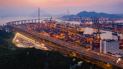 🌉 Stonecutters Bridge | Hong Kong (dawvon) Tags: cablestayedbridge landscape sunset stonecuttersbridge city ramblerchannel aerial china highway drone bluehour kwaichung traffic travel magichour twilight hongkong cityscape bridge asia newterritories kwaitsingcontainerterminals trafficlights dusk goldenhour hk halflight 葵青貨櫃碼頭 香港